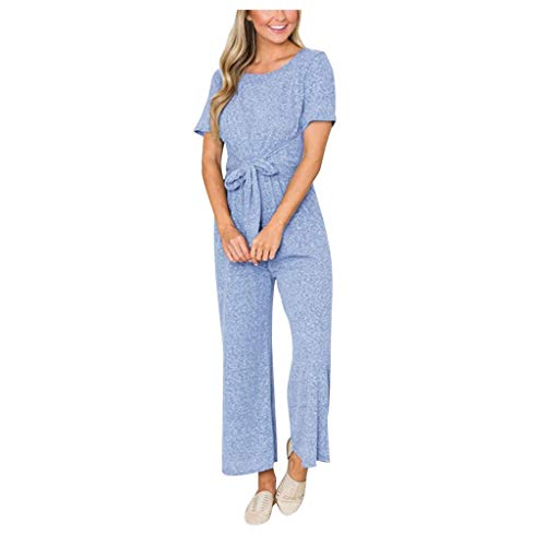iHENGH Women's Solid Color Slim Short-Sleeved LCE One-Piece Home Jumpsuit(Blue,XL)