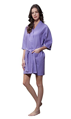 Turquaz Linen Lightweight Knee Length Waffle Kimono Bridesmaids Spa Robe (Large, Lavender)