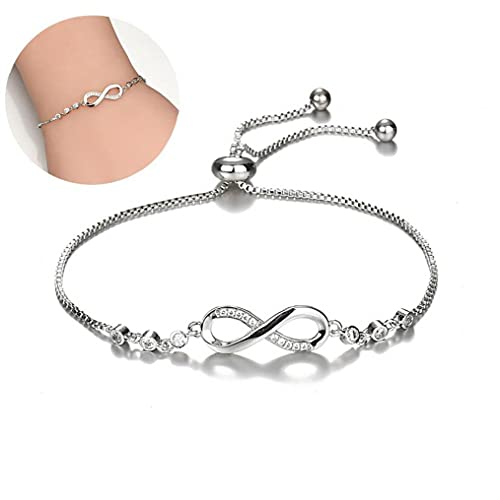 Liadance Pulsera de Mujer Moda Pulsera de Cristal de 8 en Forma Lucky Digital Zircon Jewelry Coreano Simple (Plata)