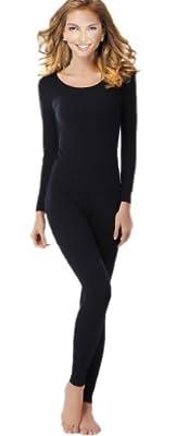 UYES Women's Thermal Underwear Set Top & Bottom Fleece Lined, W1 Black, Small