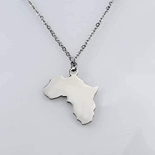 CXYCXY Co.,ltd Collar con Colgante de Mapa de África Collar de Acero Inoxidable Colgante de mapas africanos artículo Genial para Hombres Mujeres Collar