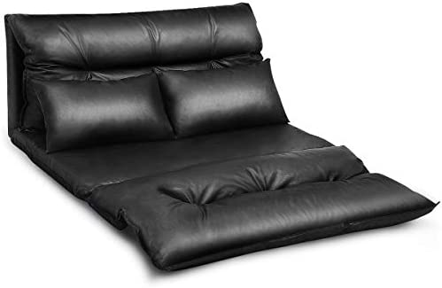Best Giantex Floor Sofa PU Leather Leisure Bed Video Gaming Sofa with Two Pillows, Black