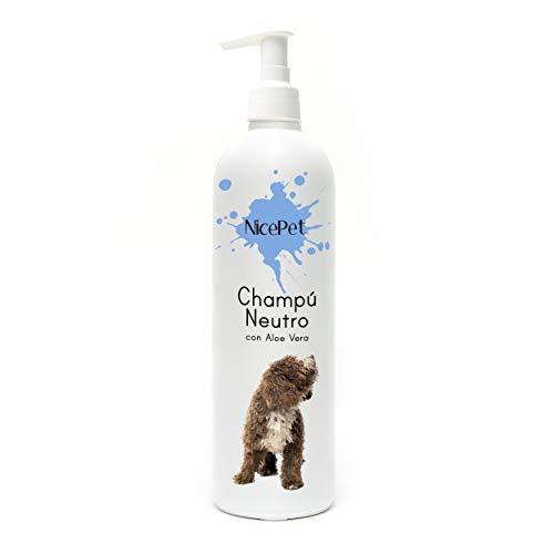NicePet Neutrales Feuchtigkeitsspendendes Shampoo für Hunde aus gemischtem Haar weiß und schwarz mit Aloe Vera, pflegt die Haut und das Haar Ihres Haustieres und erleichtert das Kämmen. 500 ml.