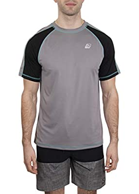 LAGUNA Mens Short Sleeve Crewneck Loose Fit Rashguard Sun Tee Shirt, UPF 50+, Grey/Black/Aqua, XXL