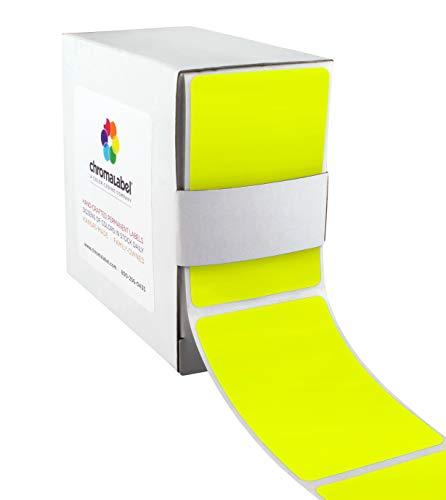 ChromaLabel 2 x 3 inch Permanent Color-Code Rectangle Labels, 250/Dispenser Box, Fluorescent Yellow