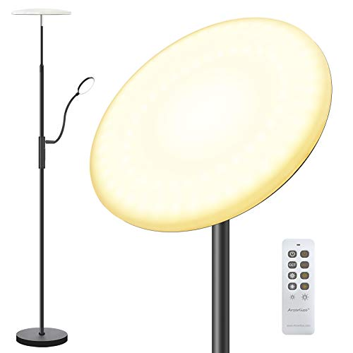 Floor Lamp, Arzerlize 30W/2500 Lumens Height Adjustable Modern Torchiere with Reading Light, 3 Color Temperatures Super Bright LED Floor Lamps for Bedrooms, Living Room, Office Standing Lamp