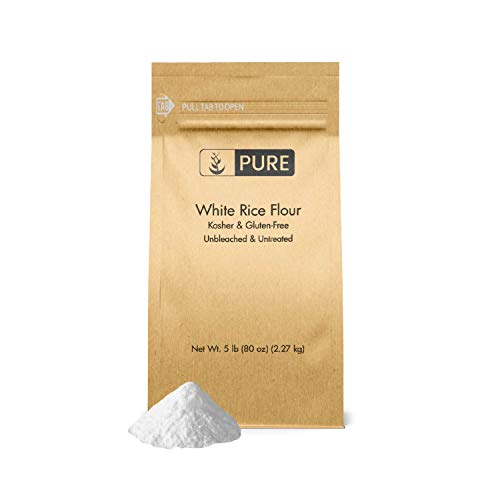 White Rice Flour (5 lb.) by Pure Ingredients, Gluten-Free, Fat-Free, Sodium-Free, Unbleached & Untreated, Vegan