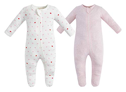 Owlivia Pijama para bebé de algodón orgánico, de manga larga, con pies Corazón & Rosa Melange 3-6 Meses