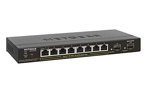 NETGEAR GS310TP Switch 8 Port Gigabit Ethernet LAN PoE Switch Smart 8x PoE 55W und 2x 1G SFP Netzwerk Switch Managed WebGUI VLAN IGMP QoS lufterloses Metallgehause