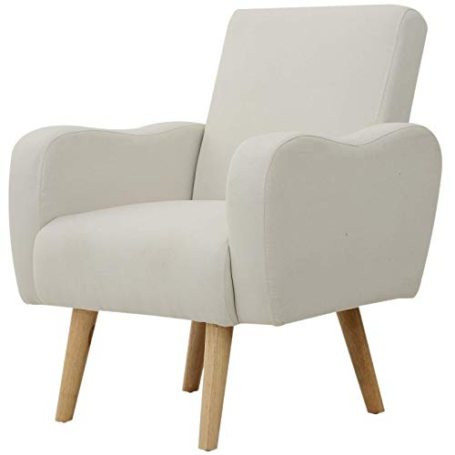 HOMCOM Linen Nordic Armchair Sofa Chair Solid Wood Living Room - Cream White