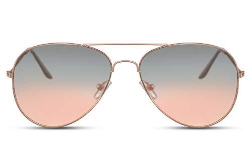 Cheapass Sunglasses Sonnenbrille Golden Pilot Rahmen mit durchscheinenden grau/orange Verlaufsgläsern UV400 geschützt Frauen Männer