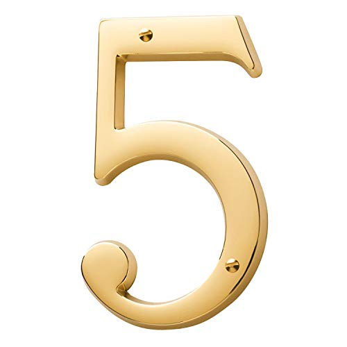 Baldwin Estate 90675.003.CD Solid Brass Traditional House Number Five in Polished Brass, 4.75