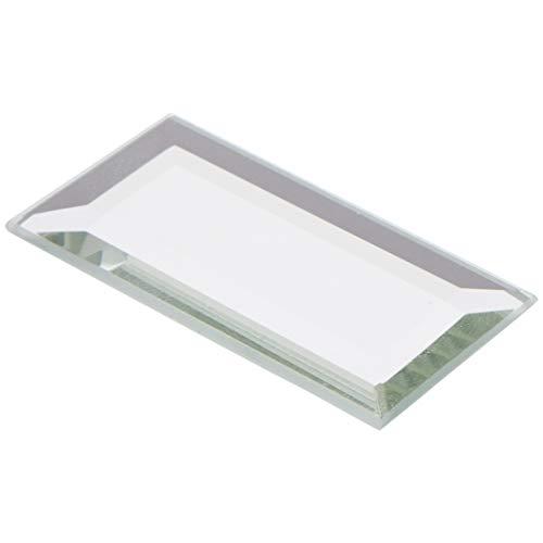 Plymor - Espejo rectangular de cristal biselado de 3 mm, 24 unidades