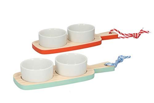 Invero Juego de 2 platos para aperitivos – cada juego incluye 1 bandeja y 2 cuencos blancos, ideal para frutos secos, aceitunas, nachos y más – (23 x 8,5 cm por plato)