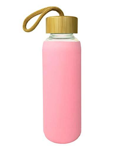 Wenburg Cantimplora Botella de Cristal con Tapa de bambú 550 ml, Cubierta de Silicona. Botella Deportiva/Botella de Agua de Vidrio. para Llevar. para té, Agua, Batidos (Rosa, 0,5 l)