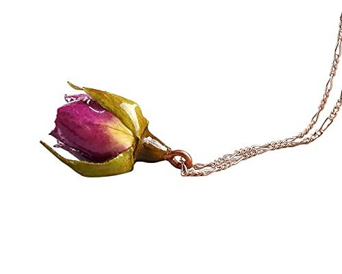 Echte Rose Anhänger Kette 50cm - 18k Rose Vergoldet - 925 Sterling Silber - Echt Blume