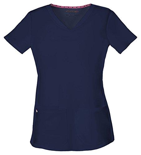 HeartSoul Women's Pitter-Pat Shaped V-Neck Top_Navy_XX-Large,20710