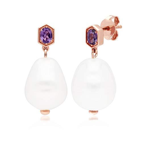 Gemondo Moderno Barroco Perlas y Amatista Gota Pendientes en Oro Rosa Bañado en Plata de Ley