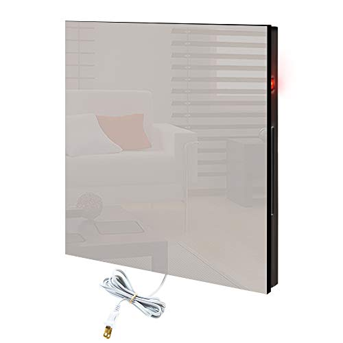 CalorSolar Cerati - Calefactor de Panel infrarrojo de pared en Cristal, Miami Wave White Angel de 380W, 60x60cm
