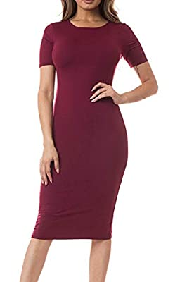 ICONOFLASH Women's Bodycon Midi Dress - Crew Neckline With Short Sleeves Available In XS To 3XL