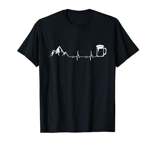 Berge und Bier Herzschlag | Ekg für Wanderer und Berglust T-Shirt