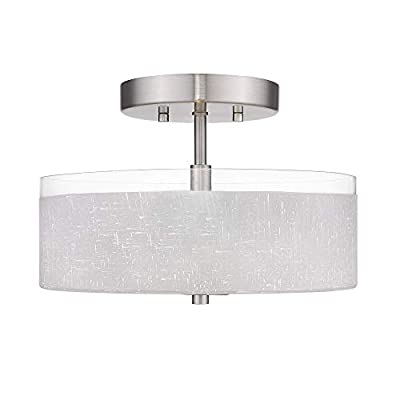 "Jazava 2-Light Semi-Flush Mount Ceiling Light, Modern 12"" Close to Ceiling Light, Linen Frosted Glass Drum Shade for Farmhouse, Bedroom Ceiling"