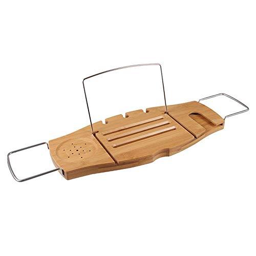 SEEKSUNG Regal Badewanne Caddy Tray Holz Badewanne Tablett mit Seite erstreckt, Leseständer, Tablet-Halter, Handyfach und Weinglashalter-Wood