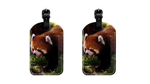 Panda Rouge Hochwertige PU-Leder Gepäckanhänger Kindertaschenanhänger Reise-ID-Etiketten Anhänger für Koffergepäckanhänger für Flug, Eisenbahn- und Schiffsreisen 2 Stücke