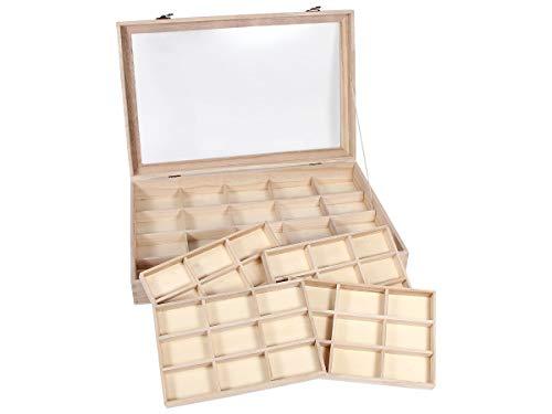 Alsino SK-23 Boîte de rangement en bois avec vitre en verre pour figurines, bijoux, minéraux et trésors de collection 45-30-7 cm