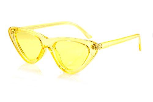 FBL Iconic Celebrity Eye-Candy Lens Frame Slim Cat-Eye Sunglasses A078 (Yellow)