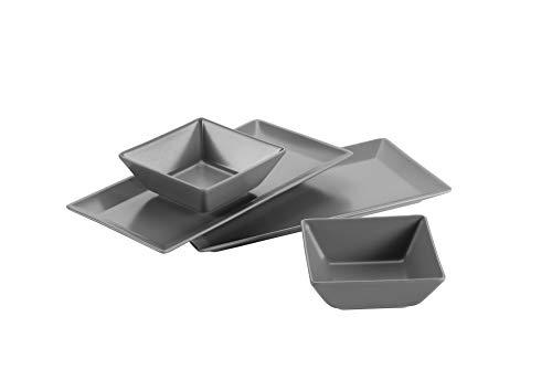 Mäser 931366 Schale/Platten rechteckige Teller und 2 quadratische Schüsseln in Grau, Porzellan Geschirr Set für 2 Personen, schwarz