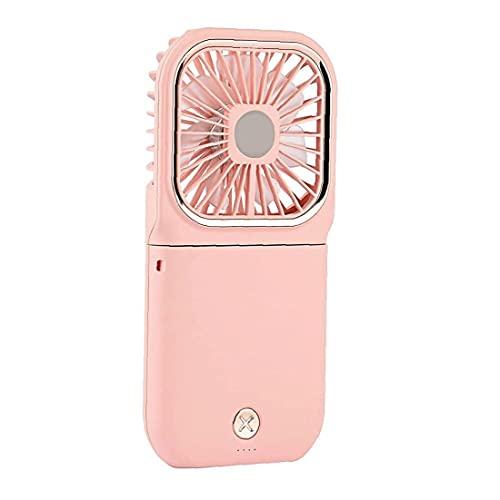 Sanfiyya USB 3000mah Recargable del Ventilador Mini Ventilador de Mano con Cuello Ventilador Soporte para teléfono Pink Power Banco