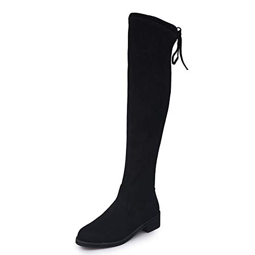 Shukun enkellaarsjes over de knielaarzen vrouwen dun plat paard laarzen elastische laarzen lange laarzen in de herfst en winter verdikking