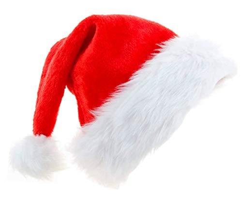 Rucoe Cappello da Babbo Natale Cappelli Divertenti - Cappello da Babbo Natale per Adulti Cappello di Natale Ispessito con Tesa in Peluche Tessuto in Velluto Rosso Natale Unisex