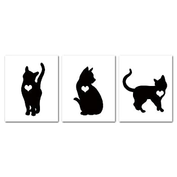 Gronda Cute Black Cat Silhouette Print Unframed Wall Art Poster Simple Artwork Home Decor Pictures for Bathroom Living Room Bedroom Hallway 8x10 Inch 3 Panels