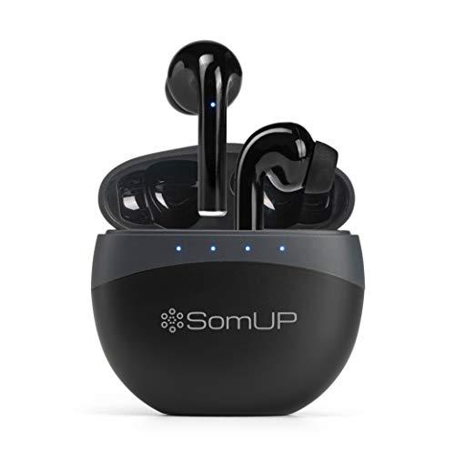 SomUP Cuffie Bluetooth earphones Senza Fili Auricolari in-Ear Sport con Microfono e Riduzione rumore Auricolare Wireless Hi-Fi Stereo Bassi Profondi Ricarica Rapida Touch Control per Android e iPhone