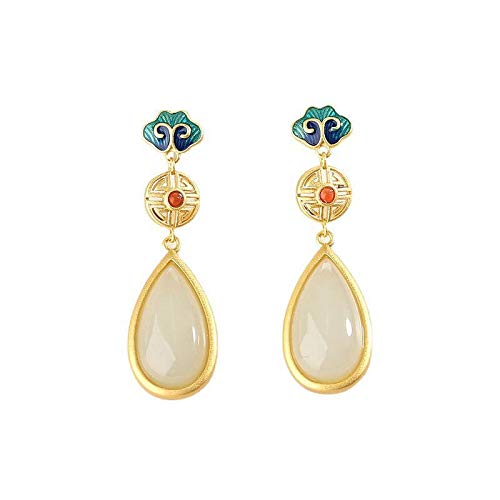 S925 / 925 Sterling Silver Gold-Plated Gemstone Crystal Earrings, High-End Elegant Ladies Jade Earrings, Perfect Holiday Gifts For Ladies, Low Strain And Nickel-Free Pendant Earrings