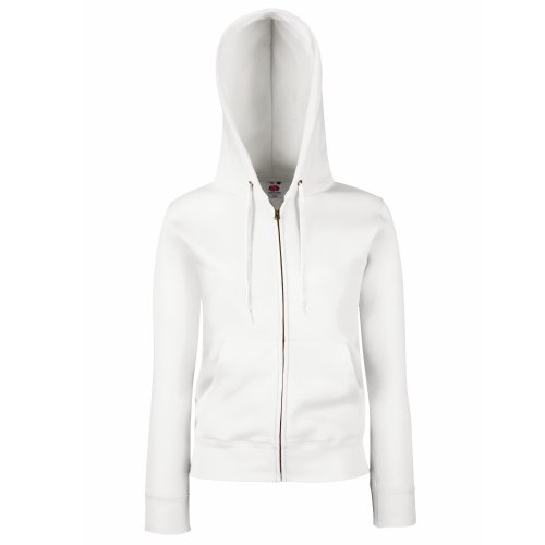Fruit of the Loom Premium Hooded Sweatjacke Lady-Fit - Farbe: White - Größe: M