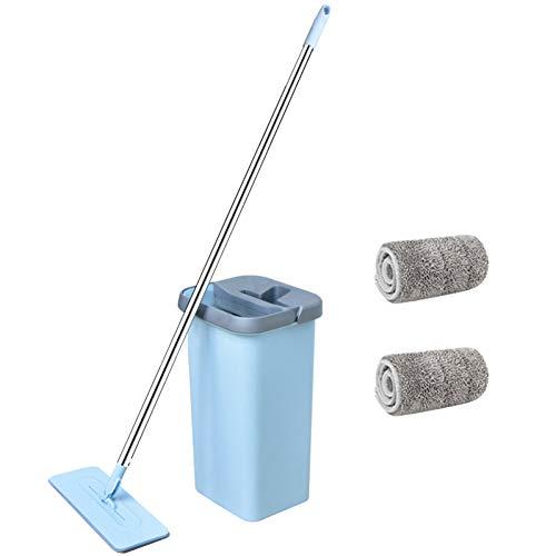 DIANZI Mopp Squeeze Microfaser Mat Rotating Mop Bucket Free Handwash Selbstquetschender Küchenboden , 1 Mop 2 Mop-Tuch