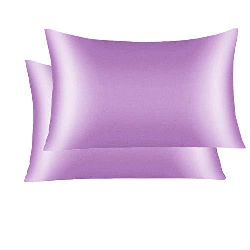 2 Funda de Almohada de Seda de Morera Natural ,Ropa de Cama, Transpirable y Suave con Ambos 21 Momme 600TC, Funda de Almohada de Seda Transpirable, Suave e hipoalergénica (Light Purple, 51X76cm)