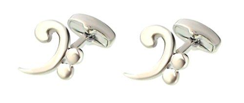 Unbekannt Manschettenknöpfe Baßschlüssel Musiknoten silbern + Geschenkbox