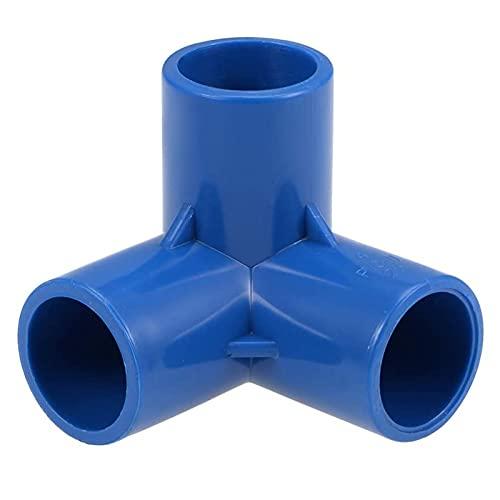 JAJU Codo de 3 vías de PVC para muebles de grado de 25 mm, con alta resistencia a la tracción y alta resistencia al impacto. Azul 10 unidades