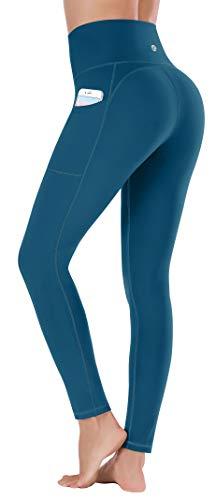 Ewedoos - Pantalones de yoga para mujer con bolsillos, leggings con bolsillos, cintura alta, control de vientre, pantalones no transparentes para hacer ejercicio - azul - X-Small