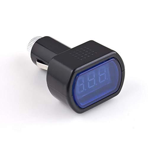 Deliu Medidor de Voltaje eléctrico del Encendedor de Cigarrillos de la Pantalla LED para la batería del Coche Auto Negro y Azul