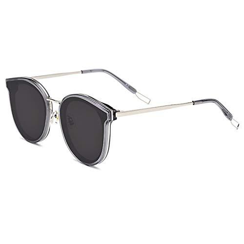 Bxiaoyan Plate New Gafas de sol para viajes al aire libre, marco redondo, lente gris, protección UV400 (color gris)