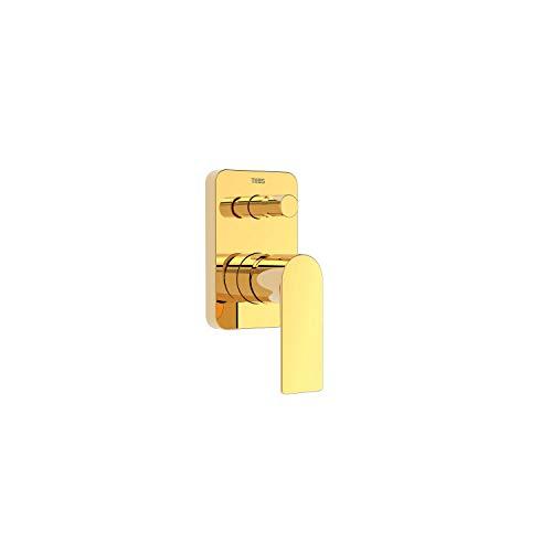 Grifo monomando empotrado de 2 vías para ducha, gama Loftcolors, cuerpo empotrado incluido, con maneta e inversor de 2 vías, 11,1 x 7,4 x 15,8 centímetros, acabado oro (referencia: 20018001OR)