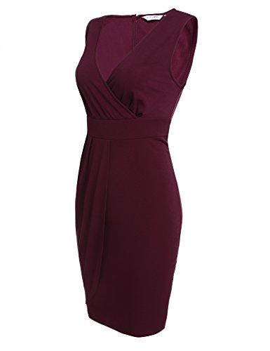 Damen Etuikleid V-Ausschnitt Wickelkleid Bleistiftkleid Ärmellos Knielang Bodycon Kleid Business Kleid mit Rüschen Weinrot - 2
