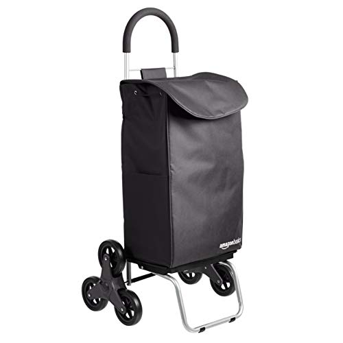 AmazonBasics – Carrito para la compra plegable que puede subir escaleras con plataforma de ruedas extraíble, mango de 96,5cm de altura, negro