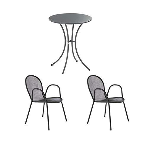 EMU - Ensemble table ronde de 60 cm de diamètre + 2 fauteuils ronds en fer antique ameublement de jardin