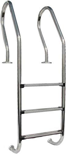 Gre 126674 Escalera de Acero Inoxidable para Piscina de Madera, 158 cm